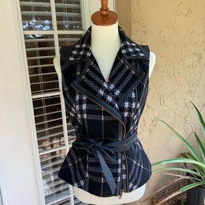 Cabi Black Belted Grid Plaid Vest